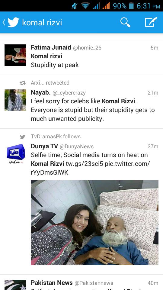 Komal took selfie with Edhi, no regrets