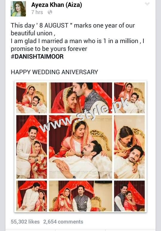 See Ayeza Khan shares a status on her 1st Nikkah Anniversary