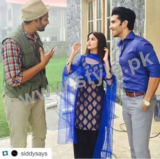 Clicks of Sajal Ali and Feroze Khan during shooting of drama GuleRana (10)