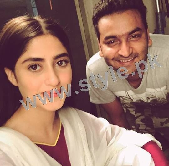 Clicks of Sajal Ali and Feroze Khan during shooting of drama GuleRana