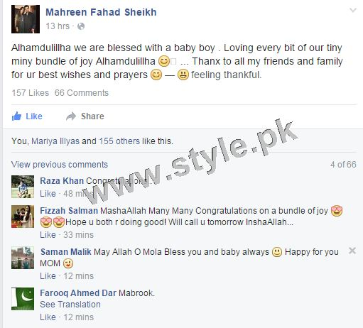 See Fahad Sheikh and Wife Mahreen are blessed with baby boy