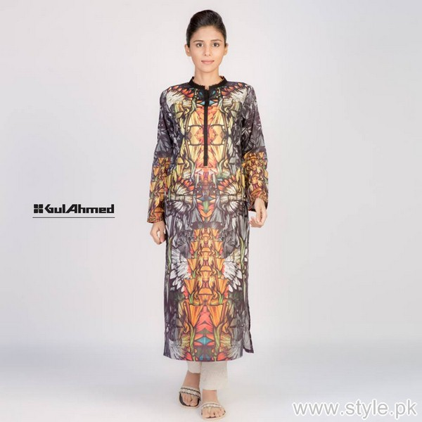 Gul Ahmed Digital Kurti Designs 2015 For Girls 5