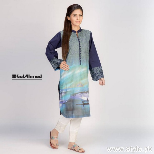 Gul Ahmed Digital Kurti Designs 2015 For Girls 6