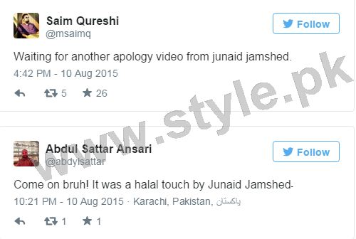 Junaid Jamshed is being criticized for holding Hadiqa Kiyani's hand