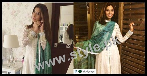 List of Pakistani Celebrities wearing same dresses on Independence day 2015