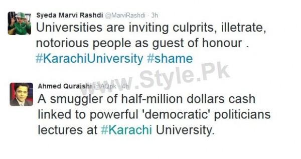 Reaction of Pakistani Celebrities on Ayyan Ali's visit to University of Karachi 1 (2)