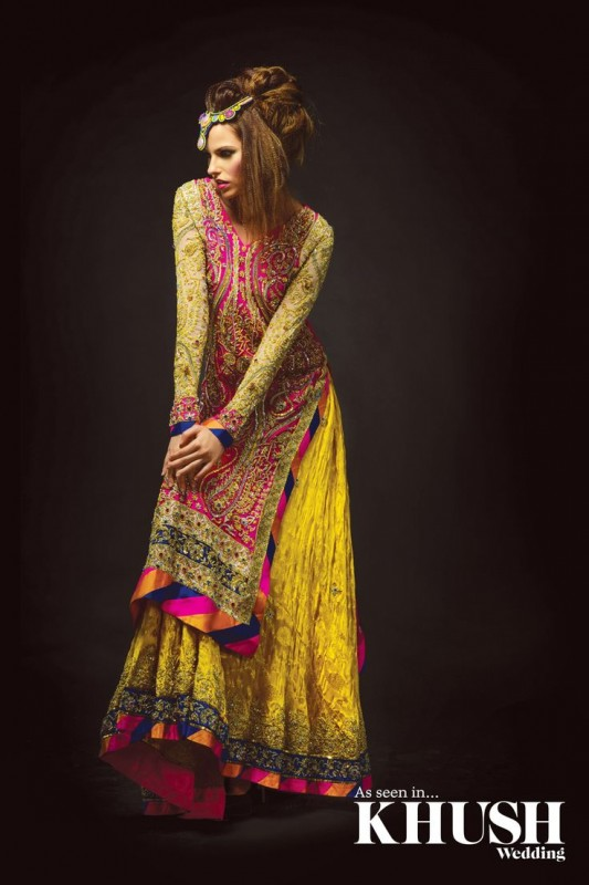 Mehndi Color Latest Bridal Dresses Collection