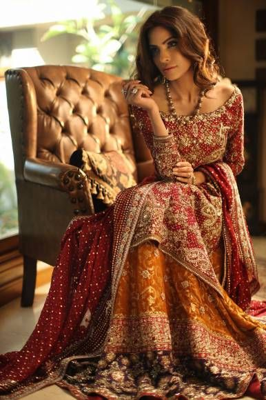 Orange vBaraat Bridal Dresses for girls