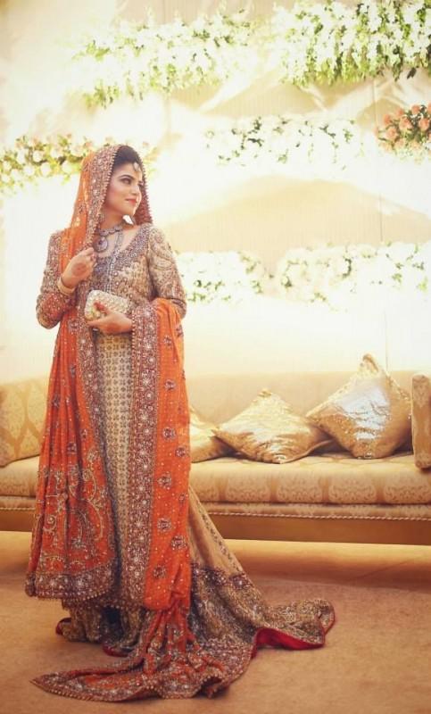 Peach Pakistani Walima dresses