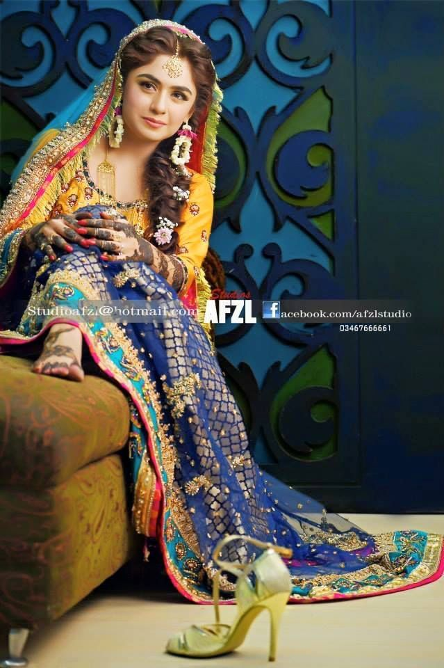 Mehndi Wedding Dresses 2016 : Pakistani mehndi dresses dark bluish style pk