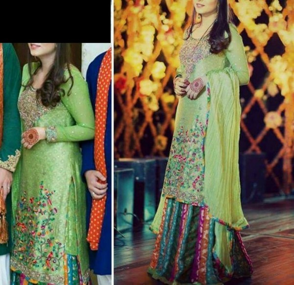 Green Pakistani mehndi dresses