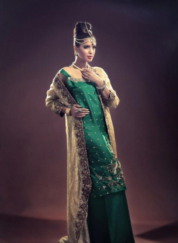 green bridal dress