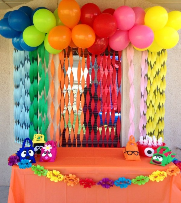 bright color balloons and flowers look perfect for birthday decoration