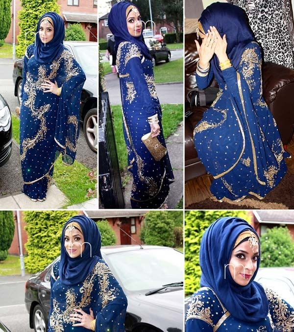 Formal Hijab Styles 2016-blue