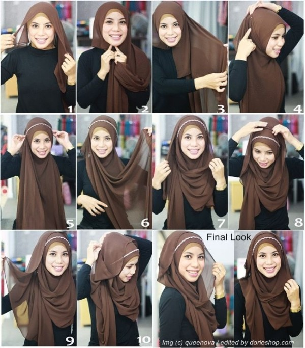 Formal Hijab Styles 2016-brown