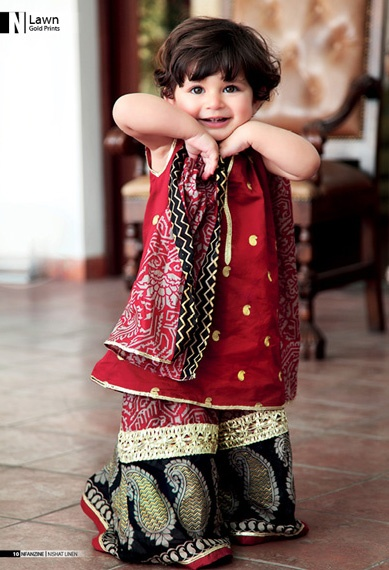 Kids Fancy dresses 2016 in Pakistan-mehroon
