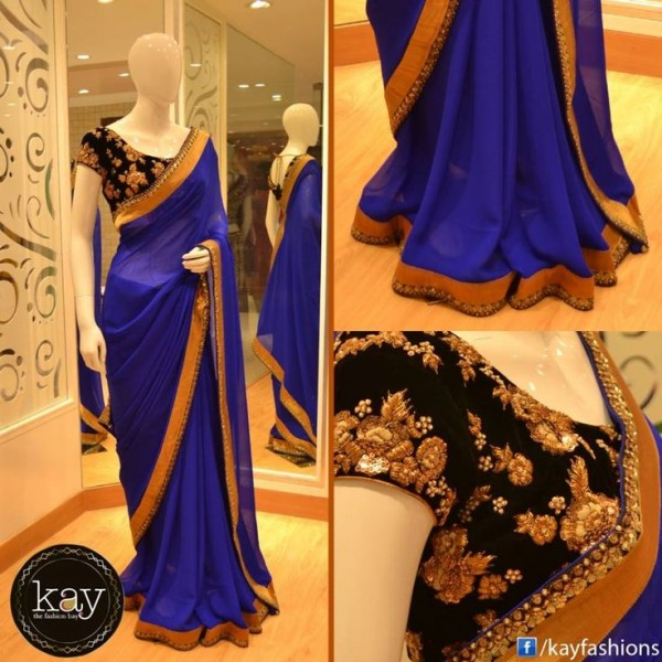 Blue Latest Sarees Designs