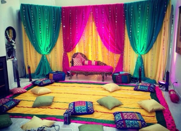 Mehndi decoration ideas 2016 for Sangeet decorations at home