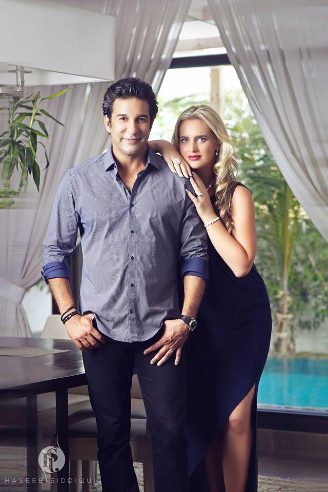 Waseem Akram with wife Shaniera
