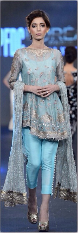 Blue Pakistani Fancy Dresses For Girls