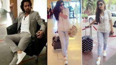 pakistani celebrities wearing white sneakers