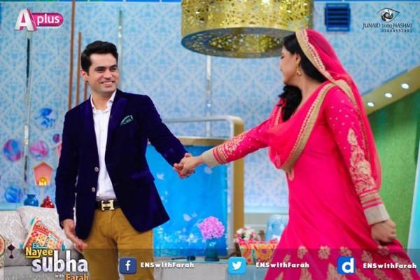 Veena Malik and Asad Bashir in EK Nayee Subha with Farah Today (10)