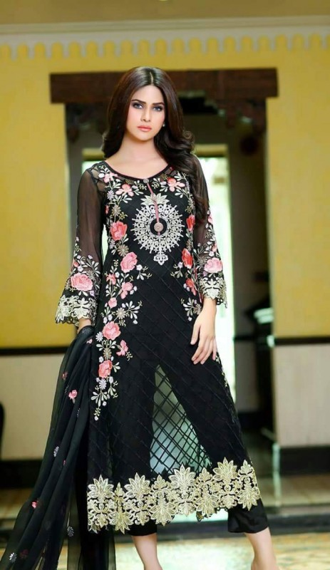 68595e23f Black party wear dresses for girls  latest designs - Style.Pk