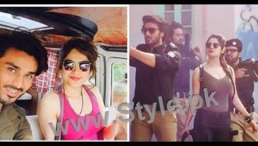 See Ahsan Khan and Neelum Muneer during shooting of Chupan Chupayi