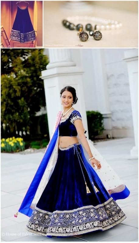 Indian Wedding lehngay 2016- blue velvet