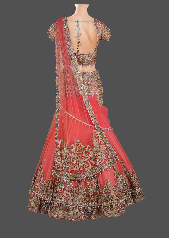 Indian Wedding lehngay 2016- coral