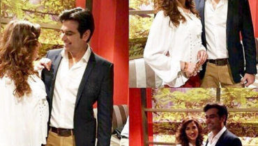Mewish Hayat and Humayun Saeed at the launch of their drama Dillagi