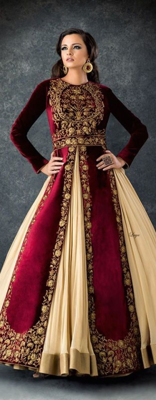 Velvet Bridal dresses 2016 maroon 313x800 - Asian Wedding Maroon 5