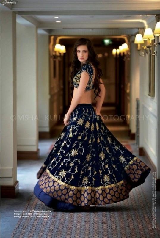 lehnga choli style 2016-  navy blue