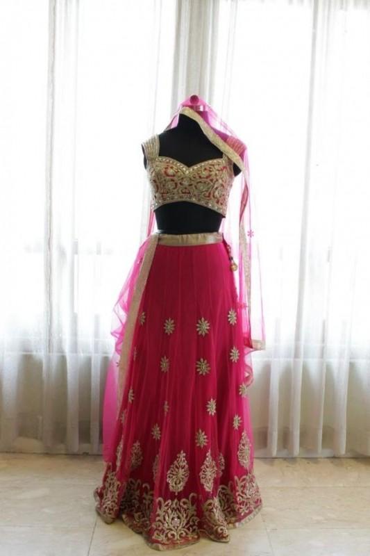 lehnga choli style 2016- pink net