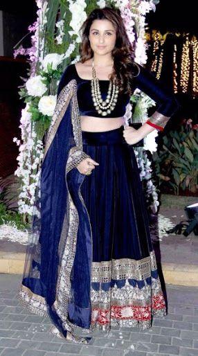 lehnga choli style 2016- velvet blue