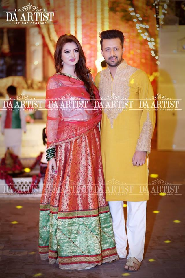 Atif Aslam With His Wife At A Family Wedding 02