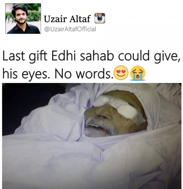 Abdul Sattar Edhi donated his Eyes  (2)