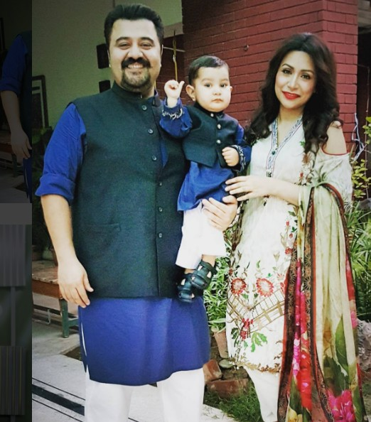 Ahmad Ali Butt With His Wife And Son On Eid 2016
