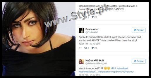 See Pakistanis are shocked at Qandeel Baloch's murder