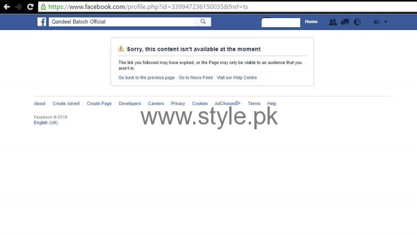 Qandeel Baloch's Facebook page has been removed  (2)