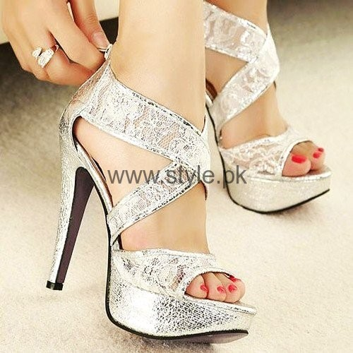 Latest Bridal Silver High Heels 2016 (2)