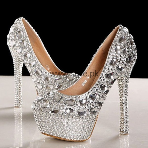 Latest Bridal Silver High Heels 2016  (5)