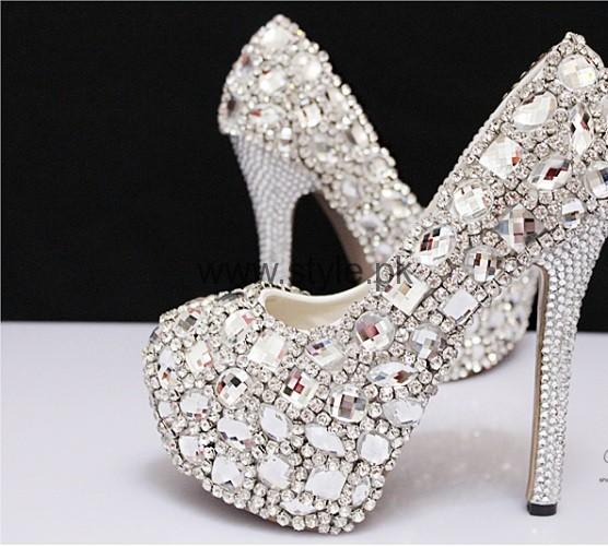 Latest Bridal Silver High Heels 2016  (6)