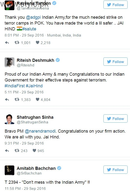 Bollywood celebrities surgical strike against Pakistan
