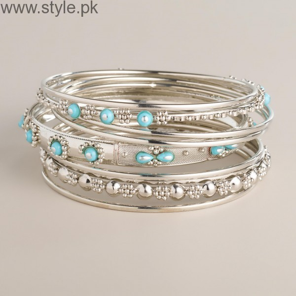428455_SILVER_AND_TURQUOISE_INDIAN_BANGLE_BRACELETS_