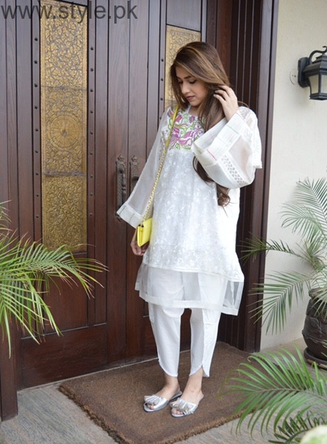 Latest Pakistani White party wear dresses 2016