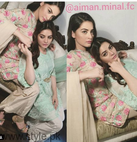 Aiman Khan and Minal Khan's photoshoot for Agha Noor (10)