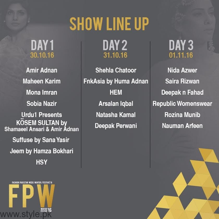 Fashion Pakistan Week Lineup