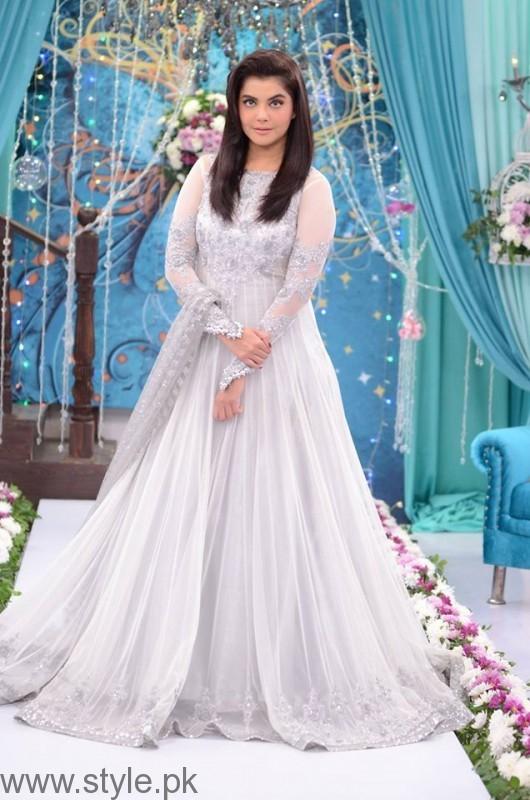 Nida Yasir in White Barbie Frock