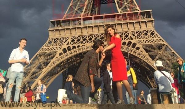 See Farhan Saeed proposing Urwa Hocane in Paris